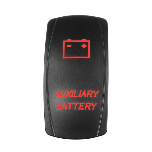 AUXILIARY BATTERY Laser Rocker Switch RED