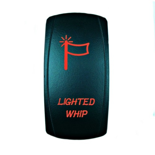 LIGHTED WHIP Laser Rocker Switch RED