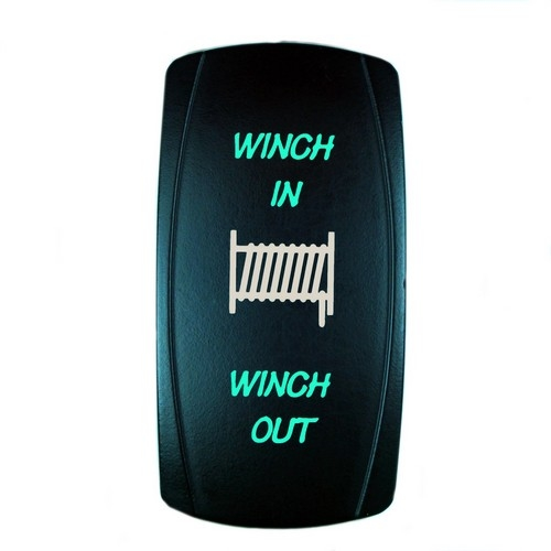 Momentary Winch Laser Rocker Switch GREEN