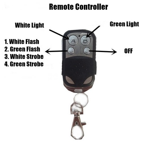 led light bar white-green strobe remote 1
